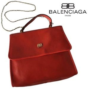 BALENCIAGA BB Kelly style red flap top handle bag